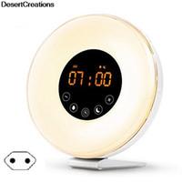 acordar rádio-relógio venda por atacado-Criativo LED Despertador Digital Nascer Do Sol Despertar Simulação de Luz Lâmpada de Cabeceira Night Light FM Função de Memória de Rádio