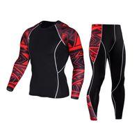 ingrosso t-shirt uomo termico-Muscle Men 3D Prints Magliette a compressione T-shirt manica lunga termica Under Top MMA Rashguard Fitness Base Layer Sollevamento pesi
