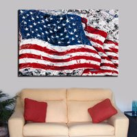 Wholesale american seascape paintings resale online - Wall Art Canvas Pictures Living Room Home Decor Framework Piece Abstract American Flag Paintings HD Prints USA Flag Poster
