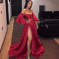 goldene linie kleid großhandel-2019 Red Off The Shoulder Abendkleider High Split Golden Sash Stilvolle A-Line Kleid Promi Abend Party Kleider Vestidos De Fiesta