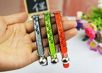 Wholesale 3 Colos Reflective Footprints Cat Collar with Bell PU Leather Elastic Collars For Cats Small Dogs Adjustable