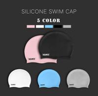 Wholesale waterproof swim caps - Water fun!Special swimming cap silicone swimming cap adult waterproof men and women swimming cap earmuffs for wholesale across the border