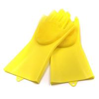 gants de nettoyage jaune achat en gros de-Paquet de 1 paire de gants en silicone Magic avec épurateur de lavage, gants de cuisine réutilisables à pinceau résistant à la chaleur, pour le nettoyage, le soin des poils d'animaux (jaune)