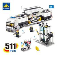 Wholesale toys for children trucks for sale - KAZI Police Command Center Truck Building Blocks Sets Bricks Model Brinquedos Gift Educational Toys for Children