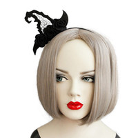 ingrosso streghe cappello fascia-Fasce per capelli per donna Gothic Gothic Witch Hat Fascinator Perline in feltro nero Flower Fancy Dress Party Hairband Hair Hoop