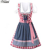 ingrosso camicie di fantasia-S-XXL Oktoberfest Beer Festival October Dirndl Beer Maid Gonna contadina Dress Grembiule Camicetta Abito tedesco Wench Costume Fancy Dress sexy
