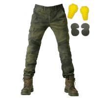 sujidade jeans venda por atacado-Calças Da Motocicleta Moto Calças Jeans Engrenagem de Proteção Equitação Corrida de Moto Moto Da Sujeira Dos Homens Calças de Motocross Pantalon Moto