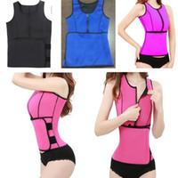 Wholesale Slimming Belt Vest - Neoprene Sauna Waist Trainer Vest Hot Shaper Summer Workout Shaperwear Slimming Adjustable Sweat Belt Bustiers Corsets