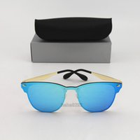 Wholesale gold cat sunglasses online - New Blaze Style Designer Rays Cat Sunglasses for Men Brand Gold Metal Frame Blue Colorful Outdoor Mens Womens Sunglasses with Box