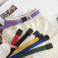 jeans coreanos morados al por mayor-Nuevo Cinturón de Lona Femme Jeans de Punto Hebilla de Metal Automática Cinturones Mujeres Cinturón Ancho Coreano Amarillo Púrpura Rosa Colorido Correa