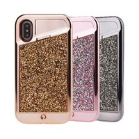 caso híbrido de diamante venda por atacado-Luz do telefone levou case para iphone x diamante bling strass híbrido tpu rígido pc tampa traseira para iphone x 7 7 plus 8 8 plus