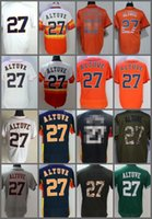 Wholesale Rainbow Flashing - 2018 Flexbase Houston #27 Jose Altuve Home Away Baseball Jersey White Grey Orange Rainbow Cool Base Stitched Jerseys