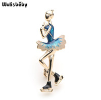 Wuli&Baby Blue Enamel Skater Figure Brooches Alloy Skating Girl Sports Bag Collar Brooches Pins Gifts