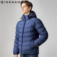 Wholesale Long Down Filled Jacket - Giordano Men Down Jacket Stand Collar Detachable Hood Jacket Long Sleeves Solid Casual Winter 90% Down Filled Coat Brand