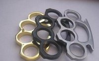 Wholesale brass knuckle wholesalers online - 2PCS Silver and Black Thin Steel Brass knuckle dusters