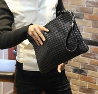 dokuma cüzdan toptan satış-Toptan Satış - Toptan-Sıcak Satış Yeni Moda Male debriyaj çanta deri Cüzdan Erkek Cüzdan Deri Çanta Depolama Çanta Örgü Debriyaj Çanta