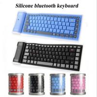 беспроводная клавиатура bluetooth для iphone оптовых-Новый портативный силиконовый bluetooth 3.0 беспроводная клавиатура 85 ключей гибкая складная ультра-тонкий смарт-клавиатура для iphone samsung ipad pro 9.7