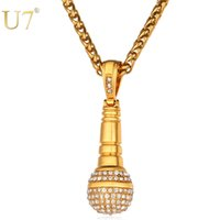 Wholesale best hip hop jewelry - U7 Ice Out Chain Necklace Microphone  Pendant Men Women Stainless a2ac9f0630b8