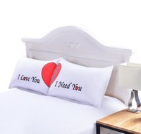 Wholesale gift pillow love - Set Of Love Cute Pillow Cases Red Heart Together Pillowcase Super Soft Pillow Cover For Wedding Valentine S Gift