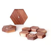 brincos de madeira pretos venda por atacado-Vitrine stand brinco jóias carrinho de madeira natureza madeira black walnut display de madeira