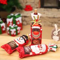 ingrosso coperte di bottiglie di vino a maglia-Decorazioni natalizie Bottiglia di vino Borsa di copertura maglione Babbo Natale per cappelli da maglia per la festa di Natale di Capodanno