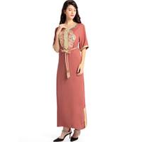ingrosso abiti da sposa stile asiatico-Abito lungo islamico a maniche lunghe musulmano abito caftano caftano marocchino maxi / lungo Abaya abito etnico turco stile hijab