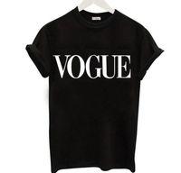 artı boyutu kadınlar için tişört toptan satış-Moda Mektup VOGUE T-Shirt kadınlar için Sıcak Baskı tişörtlü Kısa Kollu Siyah Üstleri Artı Boyutu Kadın Tees tshirt