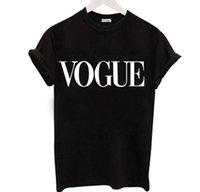 tshirt für plusgrößenfrauen großhandel-Mode-Brief VOGUE T-Shirts für Frauen Hot Print T-Shirt Kurzarm Schwarz Tops Plus Size Damen T-Shirt