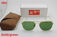 Wholesale Blue Ray Pc - New high quality AAAAA fashion retro ray Yang brand designer square sunglasses metal frame green glass lens UV400 protect brown box