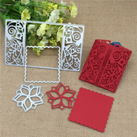 Wholesale frames papers - 3pcs Flower flower Rectsangle Frame Metal Cutting Dies Stencil Scrapbooking Photo Album Card Paper Embossing Craft DIY