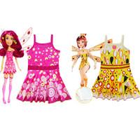 Wholesale pink girl suit pieces online - Girls Swimsuit Cartoon Movie Mia and me Kids Swimwear Baby Girl Bathing Suit Sling Dress Style One Piece Swimsuit Summer Beachwear M098