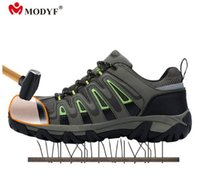 Wholesale steel toed boots - men steel toe cap work safety shoes mesh breathable outdoor boots puncture proof protection footwear