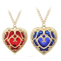 Wholesale hollow rope chain - 4 models The Legend of Zelda blue red Heart Container necklace keychain gemstone hollow heart love pendants bag hang key rings 160791