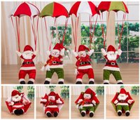 Wholesale parachute dolls resale online - 4styles Christmas Tree Hanging Decor Parachute Snowman Santa Claus Stuffed Doll Pendant Ornaments home Decor Xmas kids toy Gift