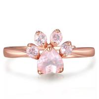 anillos de huellas al por mayor-Judie S925 Stering Silver Zirconia huella anillo oro Vermeil -011