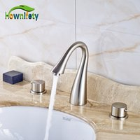 Wholesale Tap Waterfall Spout - Nickel Brushed Swan Neck Style Bathroom Sink Faucet Double Handles Waterfall Spout Mixer Tap Solid Brass Deck Mount