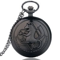 Wholesale Fullmetal Alchemist Necklace - Retro Bronze Tone Fullmetal Alchemist Horse Pocket Watch Edward Elric Anime Cosplay Design Pendant Men Women Necklace FOB Chain Quartz Clock