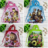 doğum günü çantaları satışı toptan satış-Sıcak Satış Kız Erkek Karikatür Çocuk Okul Çantaları Sevimli İpli Masha Ayı Alışveriş Çantası Plaj Doğum Günü Partisi Çantası 12 Adet