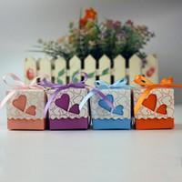 ingrosso regalo di carta del cuore della casella-New Creative Designer Birthday Candy Scatole Double Hollow Love Heart Sacchetti di carta regalo Nastro di imballaggio Multi Color di alta qualità 0 14ab aa