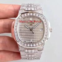 Wholesale full moving - Nautilus Luxury Watch Best Quality Full Diamond 5719 10G 40mm Automatic Movement Waterproof AAA Man Watch Set With Diamonds Sweep Move