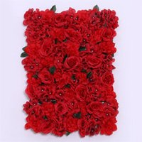 Wholesale shop wedding decorations resale online - Wedding Ceremony Artificial Flower Wall Fake Stage Background Rose Blub Carpet Cloth Simulation Flowers Silk Shop Window Decoration qd ff