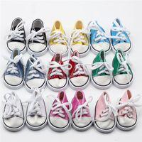 venda de acessórios para sapatos venda por atacado-2018 venda quente 18 polegada boneca sapatos de lona ata acima sapatilhas sapatos para 18 polegada nossa geração american girl boy dolls acessórios