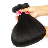 fornecedores do weave do cabelo humano venda por atacado-Onda reta feixes de cabelo humano feixes de pessoa Real pessoa extensão Virgem Bundles Feixes de Cabelo Virgem Brasileiro com Fechos 8A