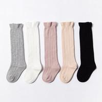 rüsche socken großhandel-Baby Socken Kinder Kniehohe Socken Rohr Rüschen Socke Mädchen Winter Warme Marke Baumwolle Reine Farbe Strümpfe Modedesigner Kleidung YL538