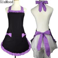 Wholesale cute aprons pockets resale online - Xiumood New Cute Bib Cotton Apron Dress Flirty Vintage Kitchen Women Bowknot With Pocket Gift