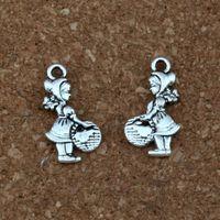 korb halskette schmuck großhandel-Antique Silver erwähnen korb Mädchen Charms Anhänger 100 Teile / los Modeschmuck DIY Fit Armbänder Halskette Ohrringe 11,5x21,8mm A-339