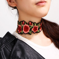 Wholesale statement necklaces for sale - Bulk Floral Embroidered Choker Necklace Punk Styles Statement Necklaces Women Luxury Jewelry Tattoo Stretch Collar Designer Necklace