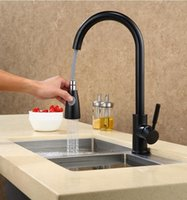 Wholesale black kitchen taps for sale - Fashion German technology high quality brass black and chrome single lever hot and cold pull out sink faucet kitchen tap