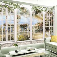 faser fotopapier großhandel-Benutzerdefinierte 3D Stereo Fenster Ansichten Garten Pool Fototapete Wohnzimmer Bettwäsche Zimmer Landschaft Wanddekor Geprägte Papiertapete