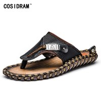 Wholesale male slippers shoes for sale - COSIDRAM Genuine Leather Men Slippers Beach Shoes Men Flip Flops Summer Flat Heels Male Slides Luxury Plus Size BRM
